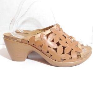 Dansko laser cut floral slide sandals